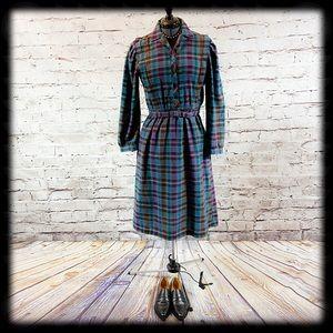Vintage Plaid  Flannel Winter Wool Blend Day Dress